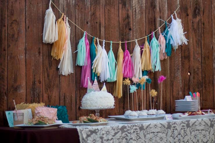 dessert table aqua, pink, white and tassel garland
