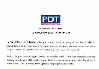 PDT Permodalan Darul Takzim Kerja Kosong