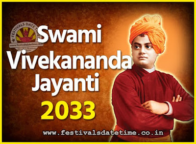 2033 Swami Vivekananda Jayanti Date & Time, 2033 National Youth Day Calendar