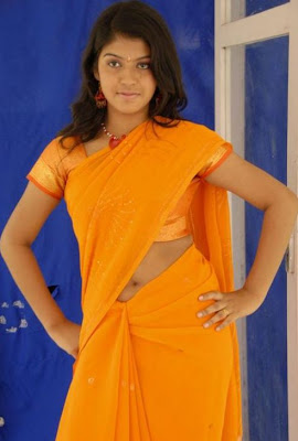 Actress Prathista Hot Navel Show in Yellow Saree Photos