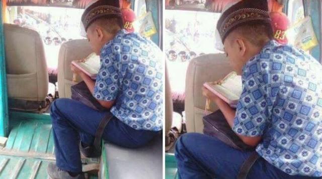 Viral, Foto Bocah Yang Terus Menunduk Di Angkot
