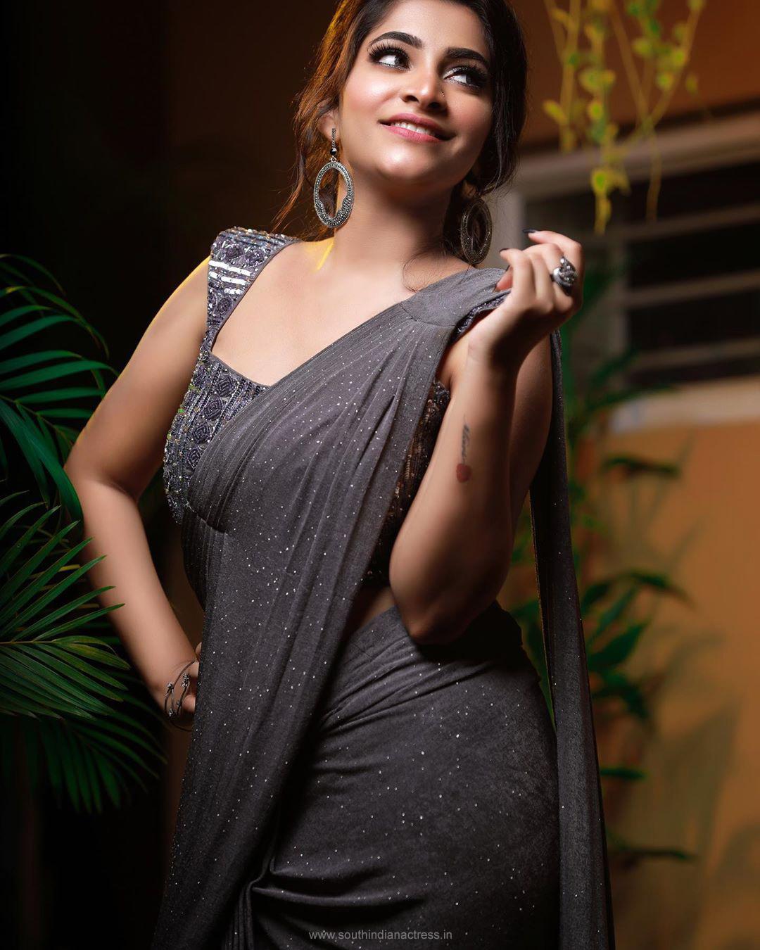 Malayalam Movie Actress Malavika Sreenath Latest Stills In Saree Photoshoot