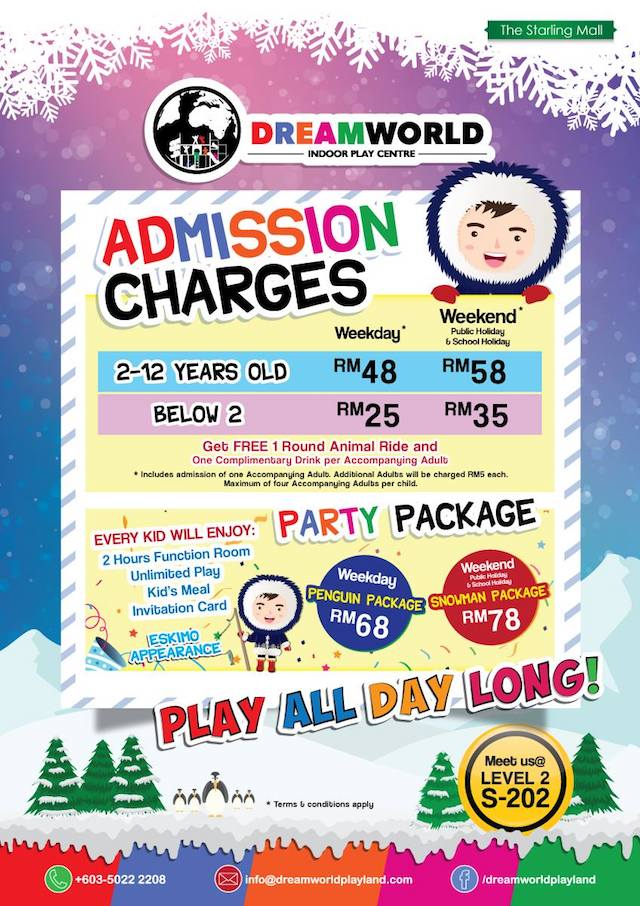 Admission Charges for DreamWorld Indoor Playland @ The Starling, Uptown Damansara