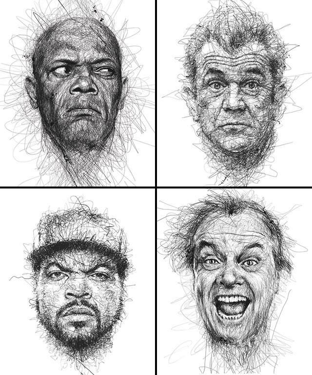 Vince Low, La Dislexia y El Arte del Garabato Retratos Samuel L. Jackson Mel Gibson Ice Cube Jack Nicholson