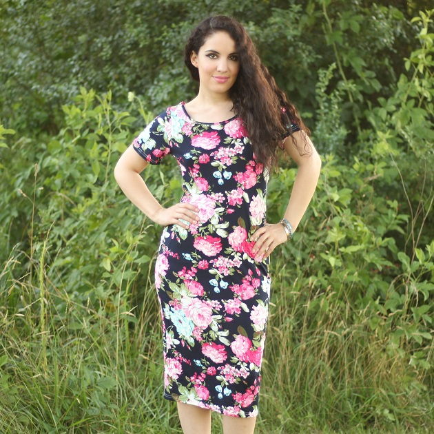 Navy Blue Floral Print Tee Shirt Dress