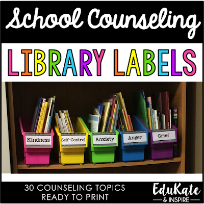 Free School Counseling Library Labels