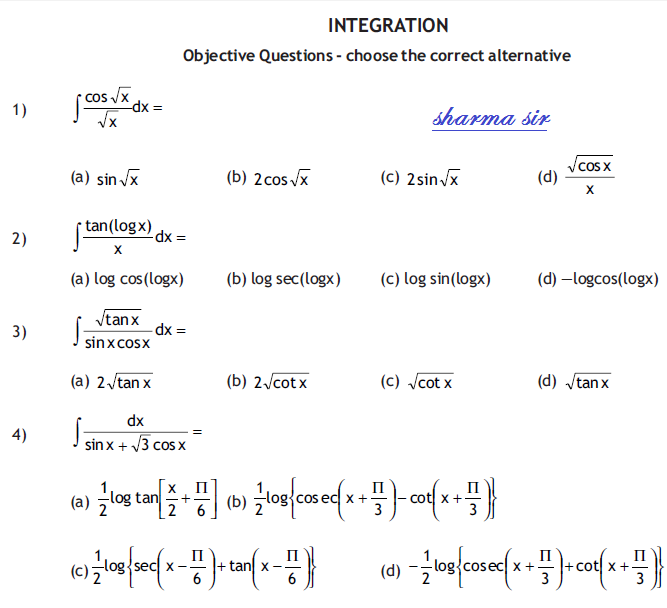 Important Questions for Integration ,partial integration,limit of sum,substitution,class 12 ,mathematics,