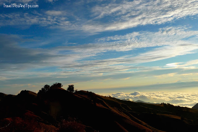 Sunset, above the clouds, Trekking mount Rinjani Indonesia