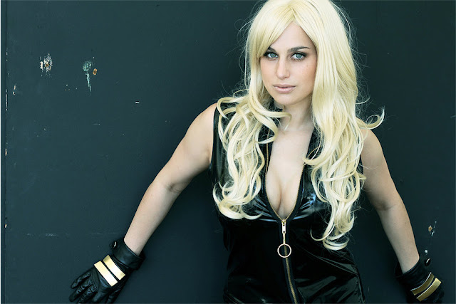 megan marie as black canary in leather