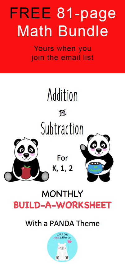 Join Grade ONEderful email list and receive an 81-page bundle of math sheets. Perfect for K-2!