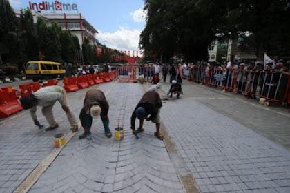 Pasca Diprotes Umat Islam, Penataan Paving Mosaik Mirip Salib di Solo Akhirnya Dicat Ulang