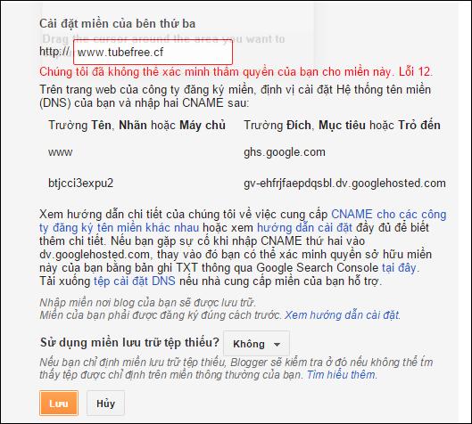cấu hình domain tùy chỉnh cho blogger