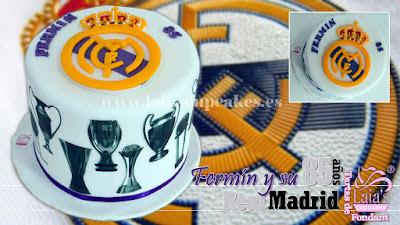 tarta personalizada fondant impresión comestible real madrid fútbol forofo escudo Laia's Cupcakes Puerto Sagunto