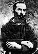 A photograph of the young Padre Pio and his stigmata