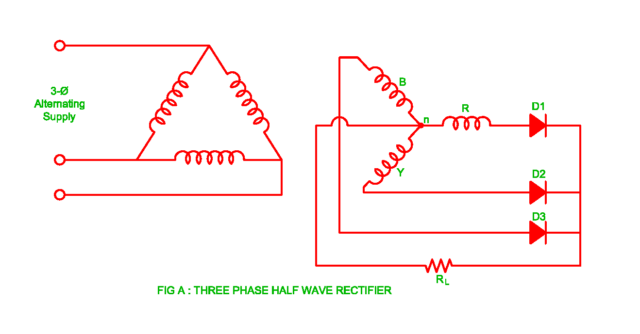 Working Of Three Phase Half Wave Uncontrolled Rectifier Electrical The Answer Converters