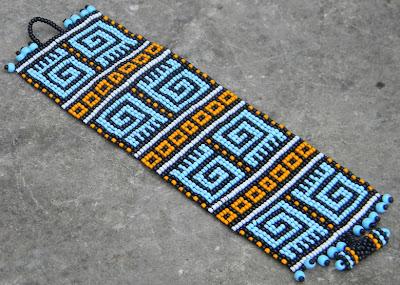 купить яркий этнический браслет из бисера широкий станочное ткачество anabel