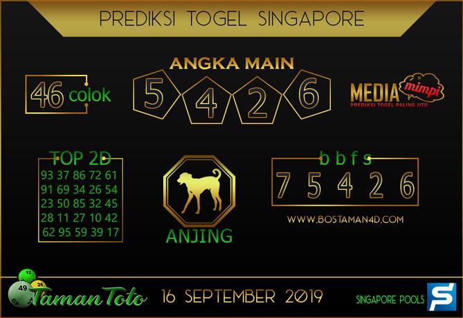 Prediksi Togel SINGAPORE TAMAN TOTO 16 SEPTEMBER 2019