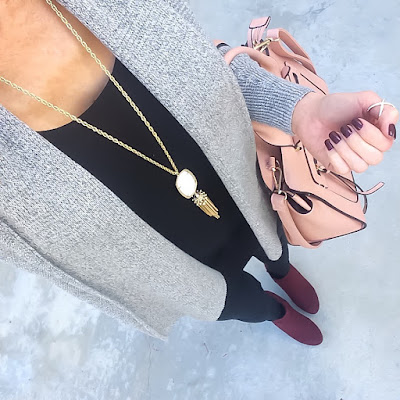 Express Grey Cardigan, Leggings, Burgundy Booties, Kendra Scott Rayne Necklace