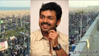 Sathyarajj, Karthi join protest against Jallikattu ban at Marina beach