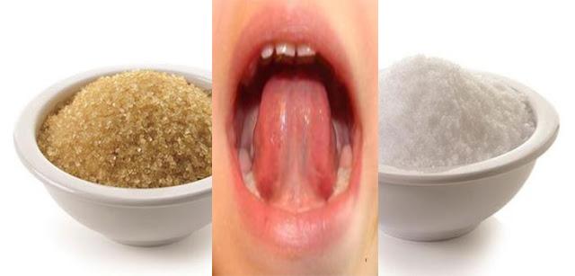 Resultado de imagen para Mezcla sal y azúcar bajo su lengua antes de ir a dormir y vea qué pasa.