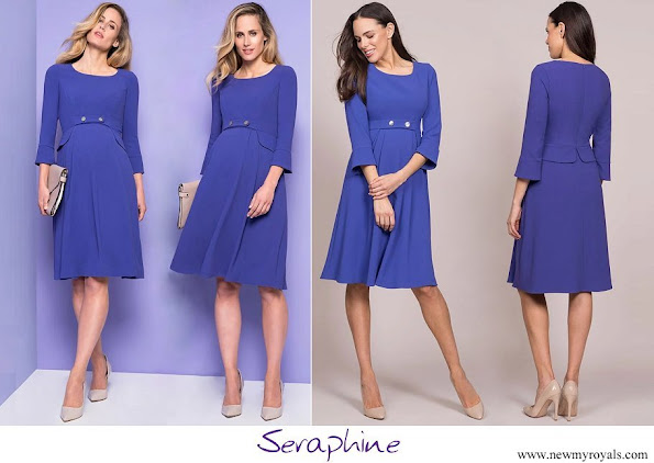 Princess Stephanie wore Seraphine Royal Blue Tailored Maternity Dress