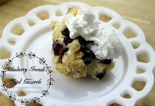 #Breakfast #FrenchToast #FrenchToastCasserole #MothersDayRecipe #MothersDay  Lacy milk glass white plate with a serving of blueberry French toast casserole topped with whipped cream