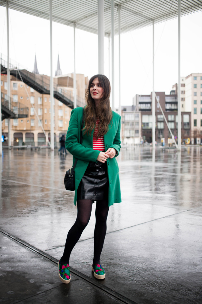 green coat, red tripes, pleather skirt and embroidered espadrilles