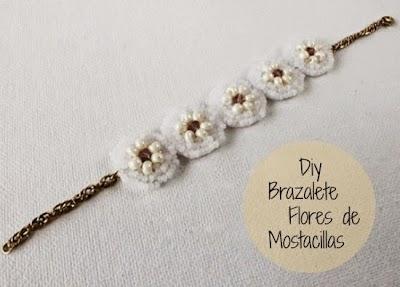Brazalete Flores de Fieltro y Mostacillas Diy