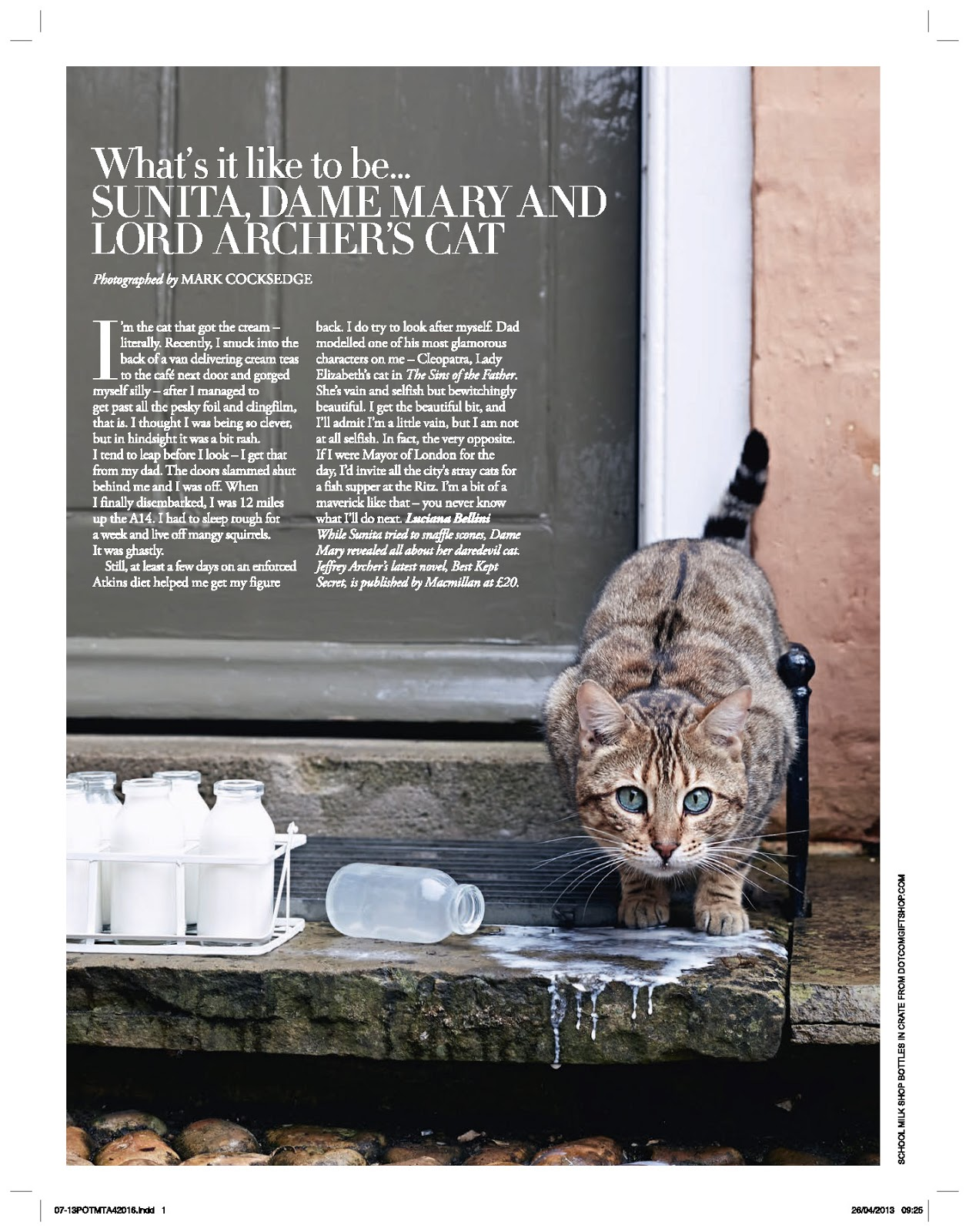 MARK COCKSEDGE: Tatler Magazine - Feature: Dame Archer's Cat