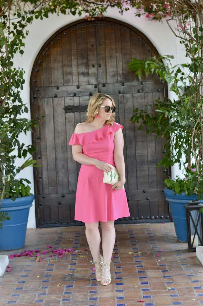 pink one shoulder ruffle dress
