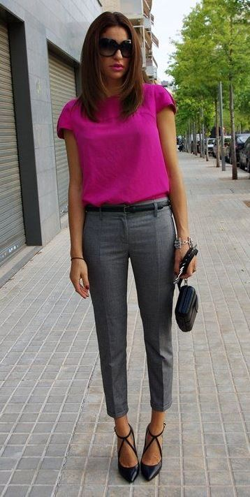 Office Outfit with Cropped Pants