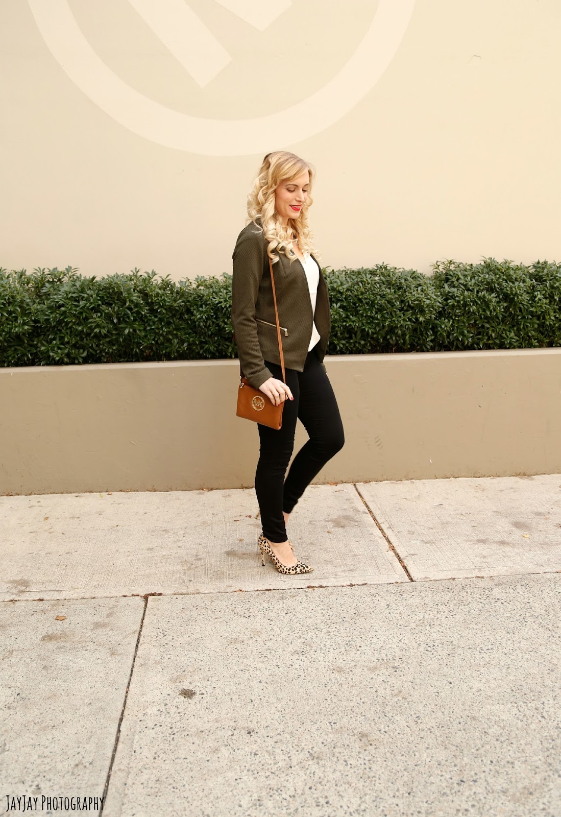 olive and leopard print outfit