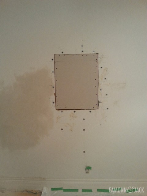 Wall patched with drywall