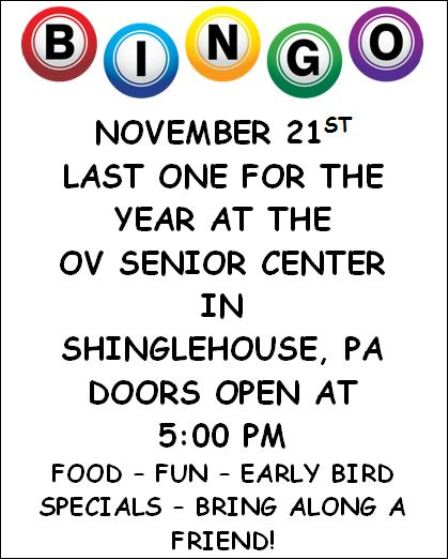 11-21 OV Senior Center Final BINGO of the year