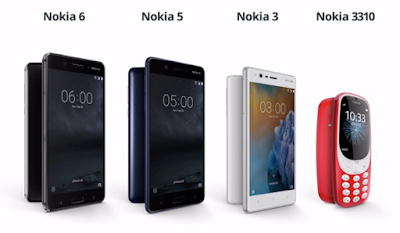 Nokia line up 6,5,3 and 3310