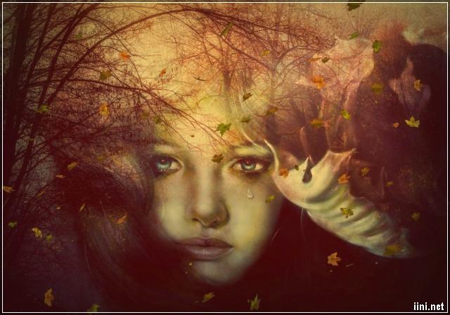 ảnh cô gái buồn rơi lệ với những chiếc lá vàng mùa thu