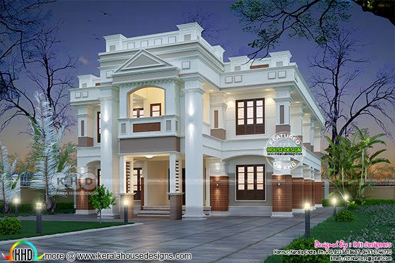 Modern Colonial type home plan with 4 bedrooms