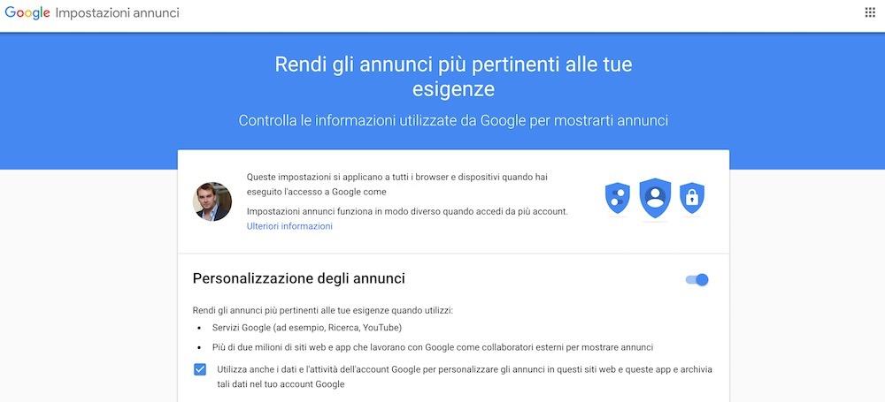 Come togliere annunci Opt Out dalle impostazioni dell'account Google