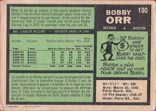1971-72 opc 100 bobby orr hockey card back