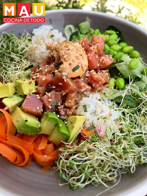 sushi bowl de atun poke tartar receta casero facil fresco