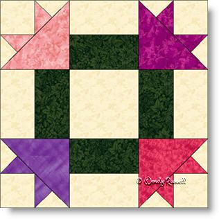 Peony Nine Patch quilt block image © Wendy Russell