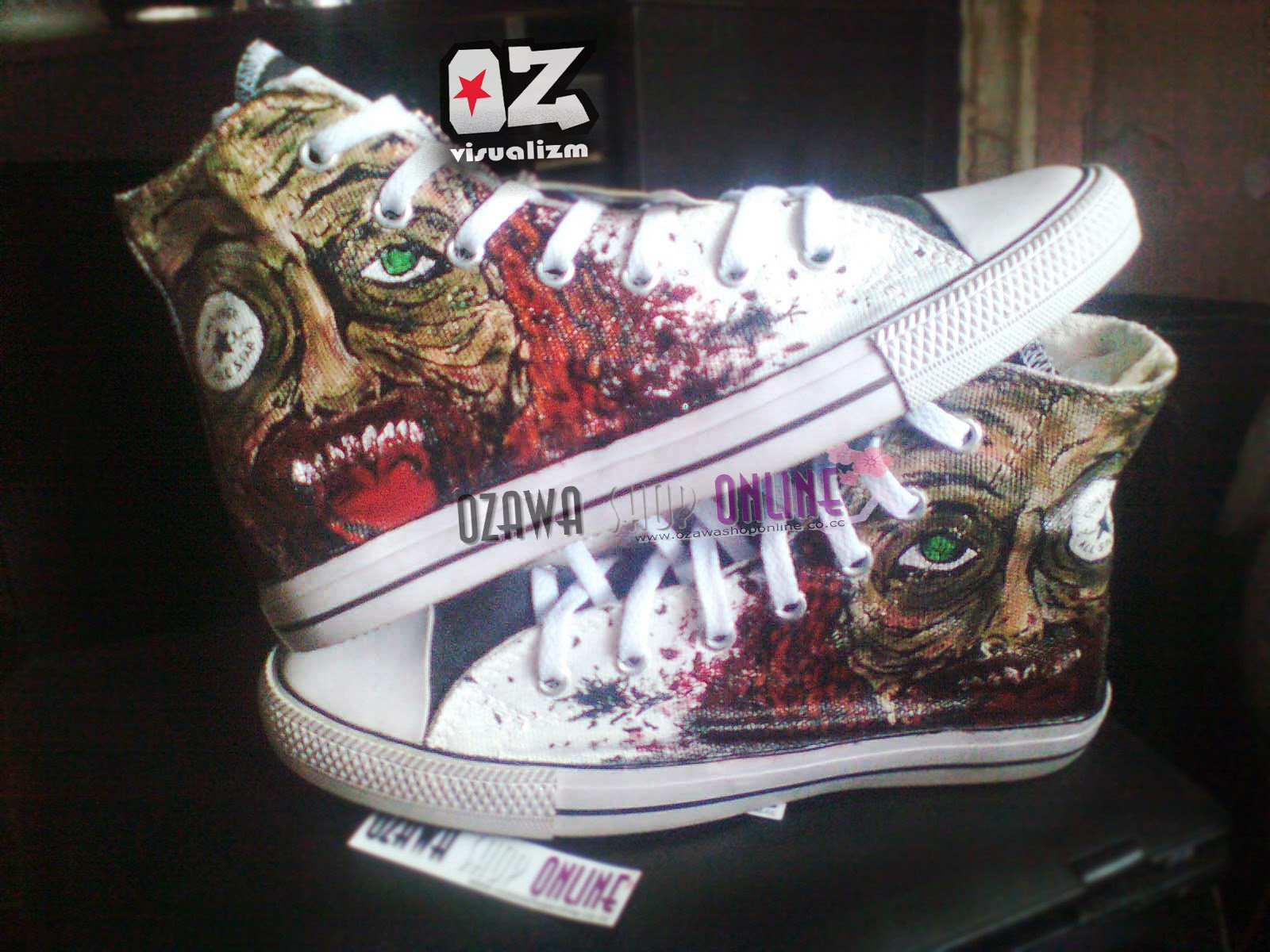 Ozawa Visualizm online shopz  SEPATU LUKIS WALKING DEAD CONVERSE ALL ... 1db148e6e7