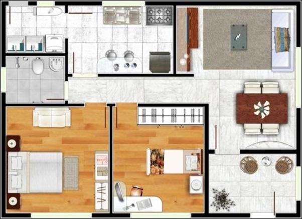 casa sala cozinha separados