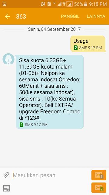 Cara Cek Kuota Internet Indosat Ooredoo 11