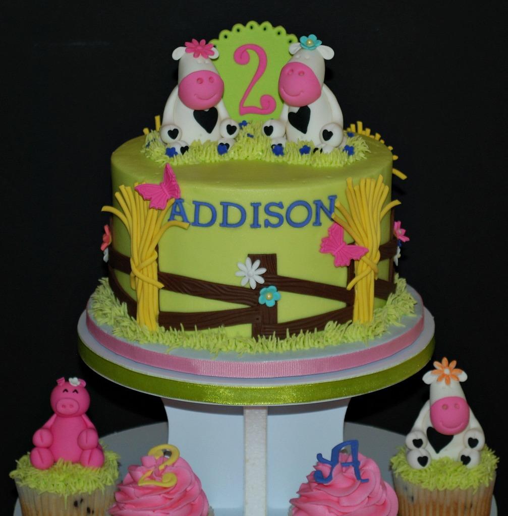 The Bakery Next Door: Farm Birthday Cake & Cupcake Tower