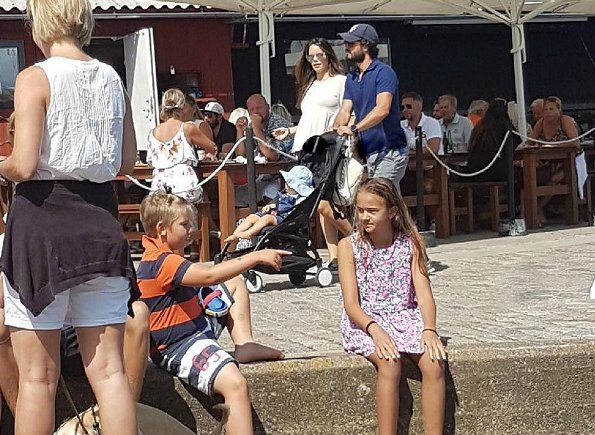 Prince Carl Philip, his wife Princess Sofia and their son Prince Alexander were seen in Bastad
