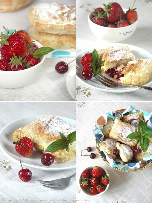 poduszeczki francuskie z truskawkami i czereśniami