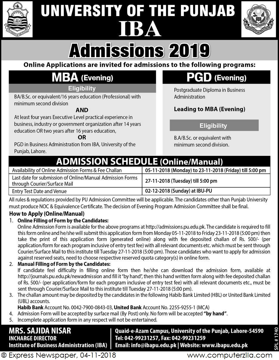 Admissions Open For Spring 2019 At PU Lahore Campus
