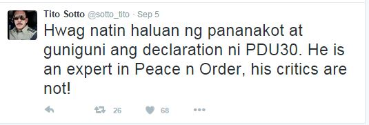 ''He Is An Expert In Peace And Order, His Critics Are Not' Said Senator Tito Sotto As He Defended President Duterte!