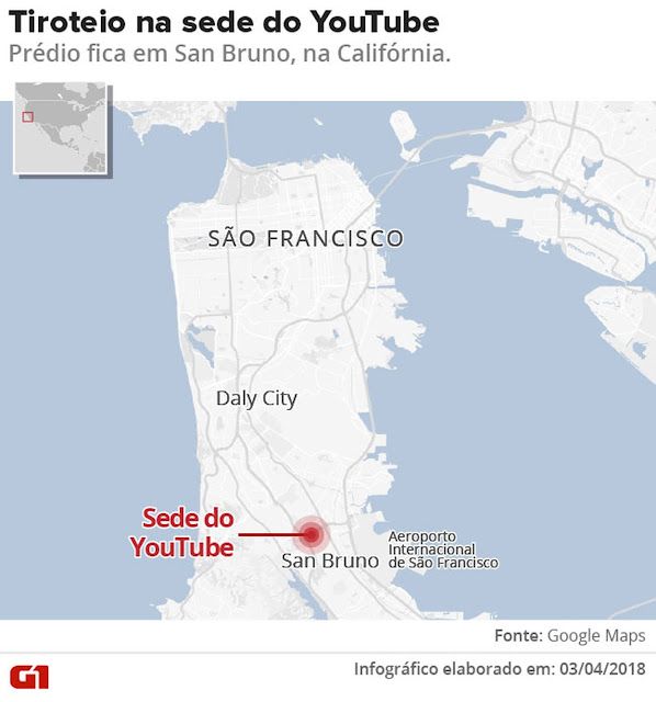 Mapa mostrando o estado da Califórnia, onde fica a sede do YouTube